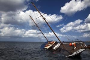 tilted boat